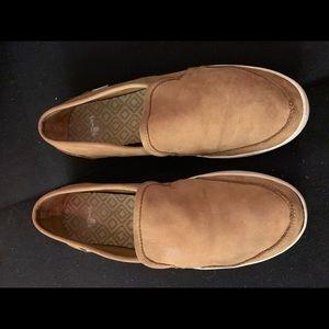 Sanuk tan leather like slides size 7